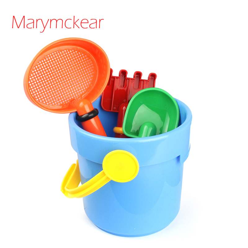 4 Pcs/set Mini Bucket& Shovels Beach Toy Playing House Toy Pretend Play In Sand Kids Funny Toys Sand Game In Blue/Red