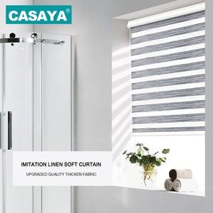 Image 4 - Full Light Shade Roller Blinds Dust Cover Design Thicken Linen Fabric  28mm Aluminum Track Zebra Blinds for Living Room