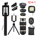 12in1 Kits de Lente Da câmera olho de Peixe Grande Angular Macro Lentes 8x clipes de lentes zoom telefoto tripé selfie luz de preenchimento para telefone celular