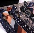 Conjunto de la Corbata de los hombres diseñadores de la marca de lujo hombres de negocios caballero rayas de impresión de Seda Corbata Pajarita corbata de moda para hombres