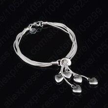 GIEMI New Classic 925 Sterling Silver Heart Shape Bracelets For Women