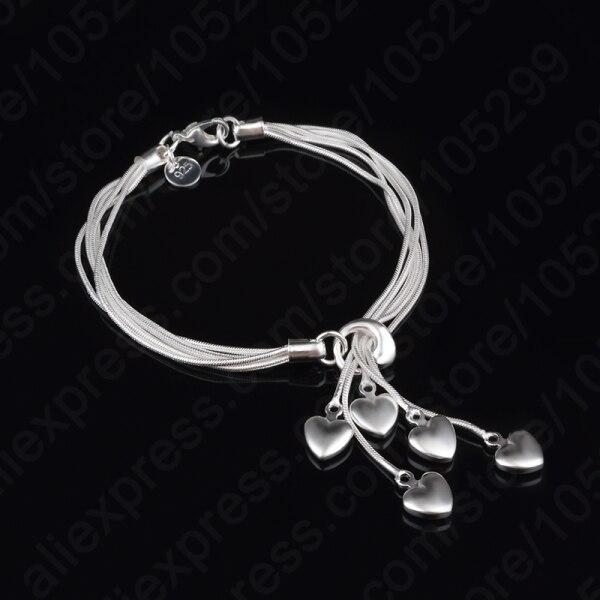 New Classic 925 Sterling Silver Heart Shape Bracelets For Women Charm Line Wedding Party Fine Jewelry Gift