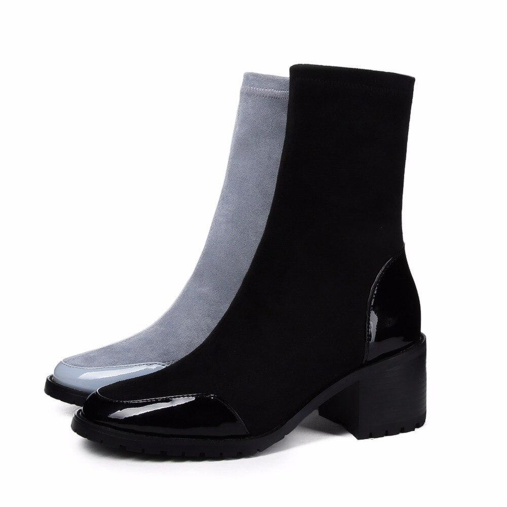 Chaussures L11 Talons Krazing Cuir Velours En Cheville Chaude shallow Rond Pot 5 5 Automne Bottes Noir Stretch Cm Vente Bout Véritable Blue Femmes SqWqXH4