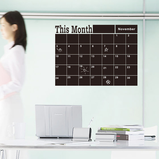 Removeable Wall Calendar Stickers Blackboard Chalkboard Memo Sticker Carved Explosions For Home Office Kitchen Business