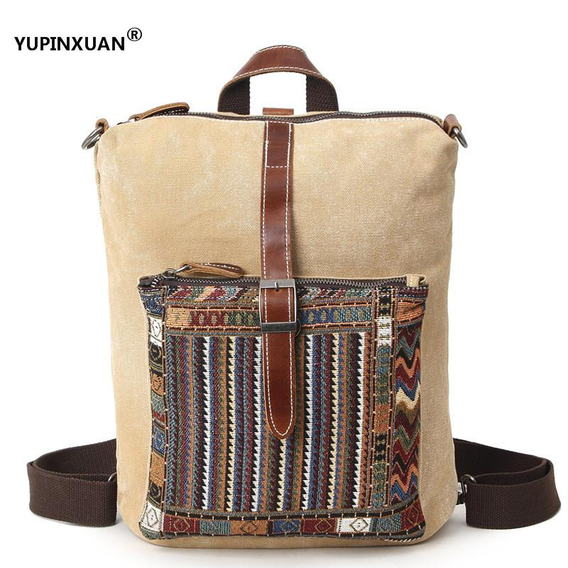 YUPINXUAN 4 Color Options Bohemia Ssylish Canvas Backpacks Men Big Capacity Waterproof Travel Backpack Real Cow Leather Parts купить