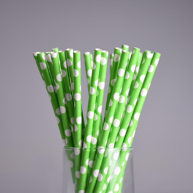 25pcs/lot Green Theme Paper Straws Happy Birthday Wedding Decorative Event Party Supplies Environmental Flamingo Drinking Straws