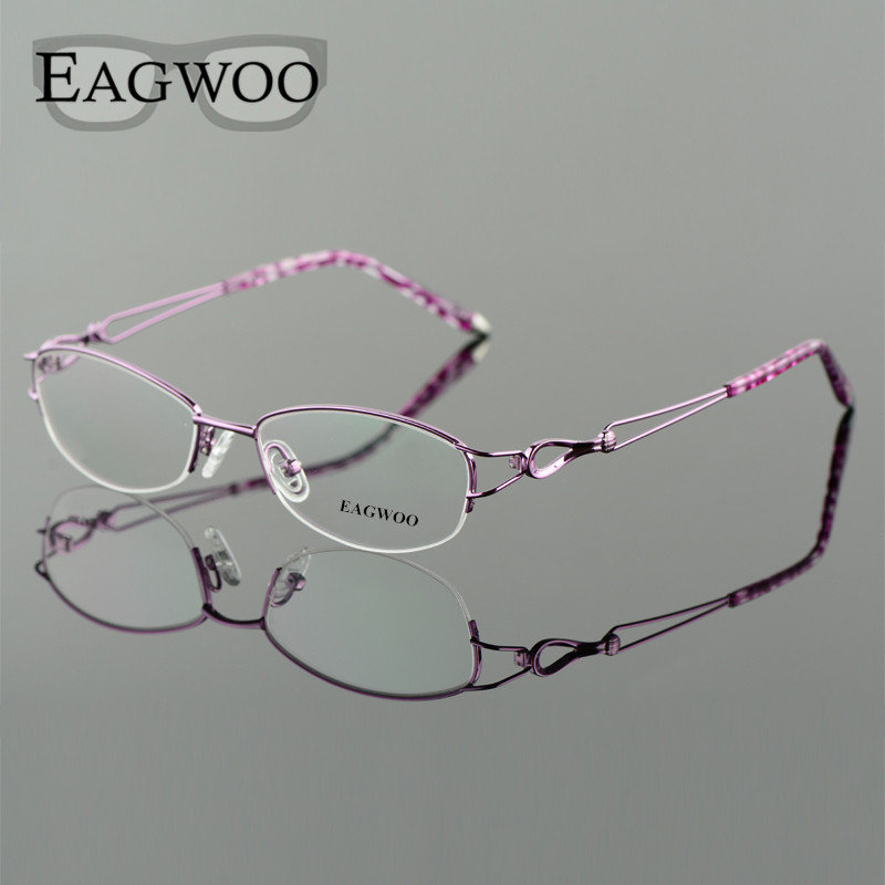 Image 3 - Metel Alloy  Eyeglasses Half Rim Optical Frame Prescription Women Spectacle Reading Myopia Flower Eye Glasses Purple Blue  52223-in Women's Eyewear Frames from Apparel Accessories