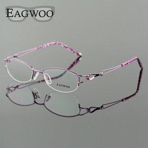 Image 3 - Metel liga óculos metade aro armação óptica prescrição feminino óculos de leitura miopia flor óculos de olho roxo azul 52223