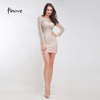 Finove Stunning Beading Cocktail Dresses 2018 New Styles Sexy See Through Tulle Mini Dresses Long Sleeves Short Women's Dresses