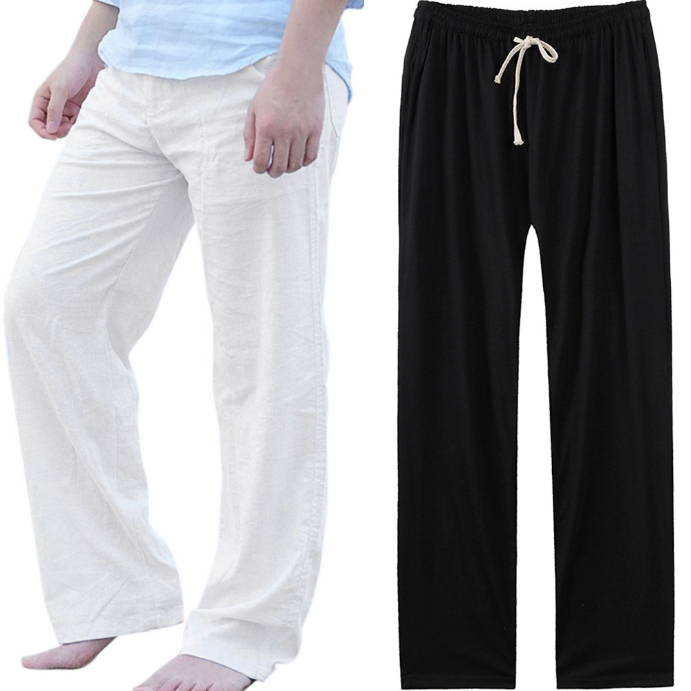 Men Sweatpants Long Fashion Casual Loose Elastic Waist Sport Comfort Solid Dancing Yoga Pants Trousers Slacks