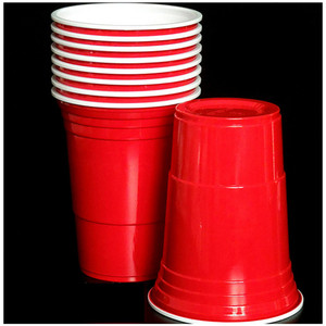 Image 2 - 50Pcs/Set 450ml Red Disposable Plastic Cup Party Cup Bar Restaurant Supplies Household Items for Home Supplies High Quality