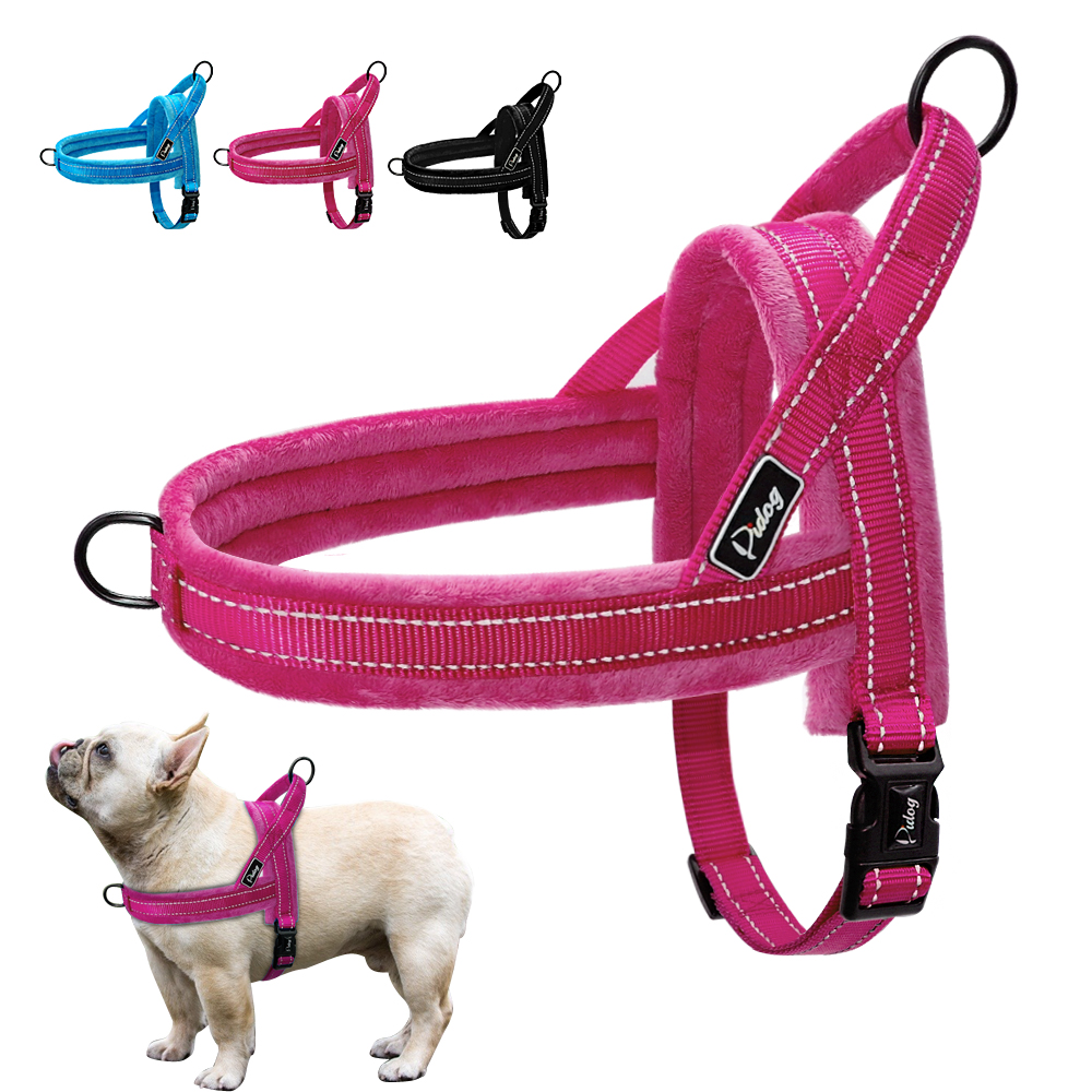 Nylon Reflective Pet Dog Harnesses Vest Soft Flannel Padded No Pull Strap Harness For Walking Training