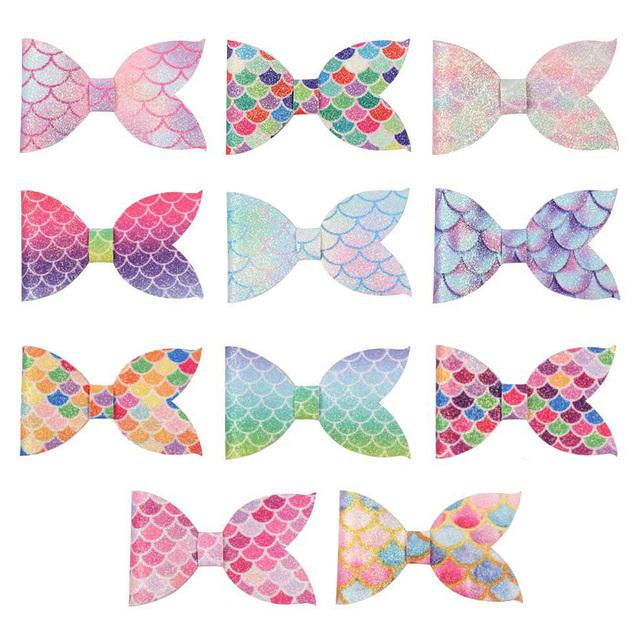 11 pcs. Mermaid Tail Glitter Scale Hair Bow Bundle Set