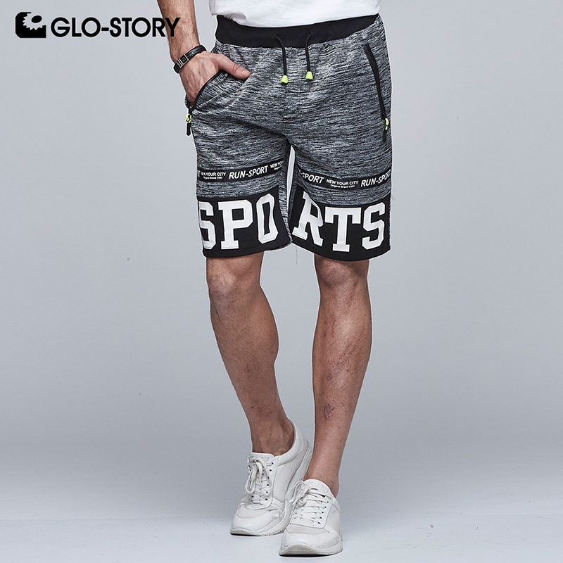 GLO-STORY Men/'s Hip Hop Fashion Knitted Mid-length Shorts Men Adjustable Elastic Waist Bodybuilding Short MRT-5092