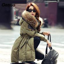 Genuo Women Luxurious Fur Collar Hooded Coat Winter Warm Fur Down Overcoat Long Army Coat Waterproof Winter Parka Jacket цена
