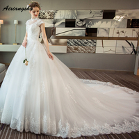 Brida Robe de Marriage Court Train Appliques High Neck Short Sleeve Lace up Customized Royal Marriage Wedding Gowns Backless