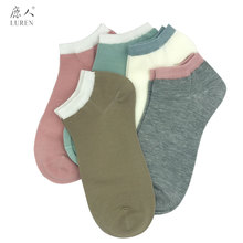 LUREN 5 Pairs/ Lots Simple Casual Women Socks for Summer Mulberry Silk Ankle Cute Solid Candy Color Girls 6016
