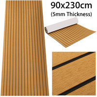 90x230cm Self Adhesive EVA 5mm Foam Teak Sheet Boat RV Decking Gold With Black Line