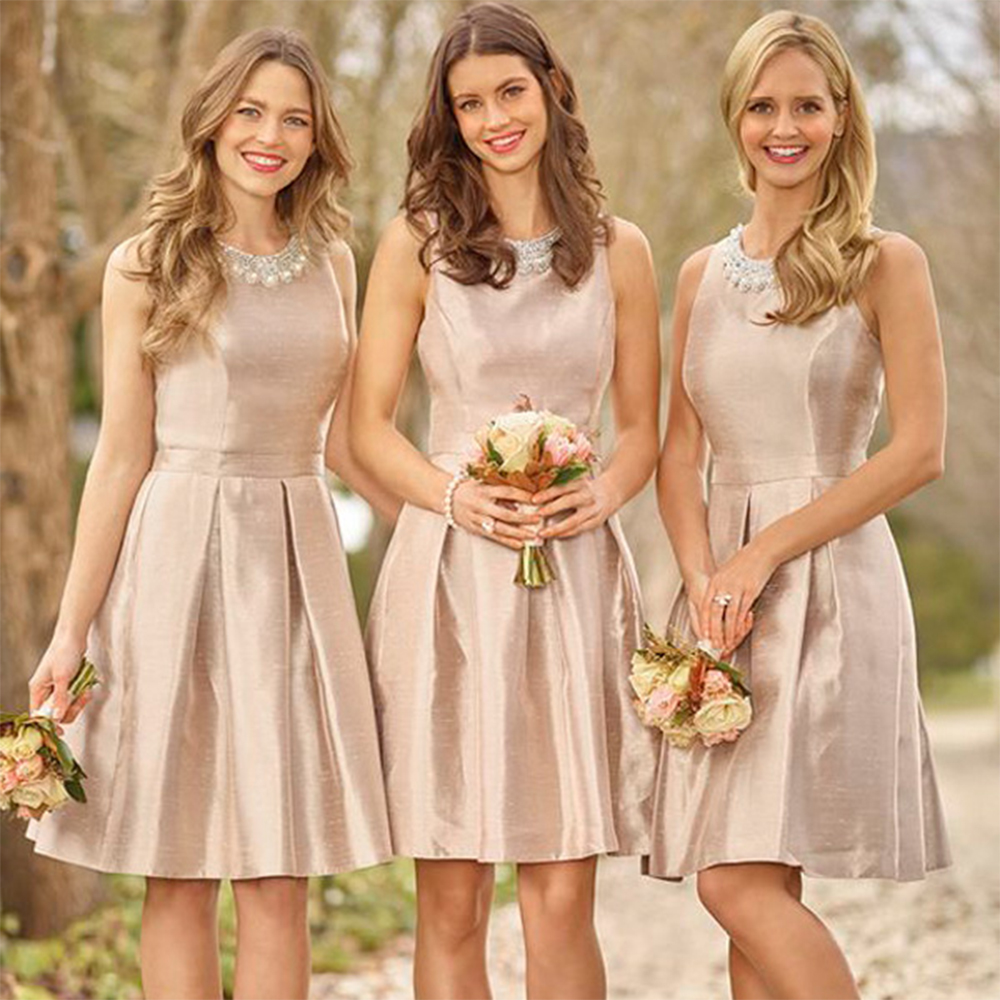 Popular bridesmaid champagne buy cheap bridesmaid champagne lots pretty short champagne bridesmaid dress pearls bridesmaid dresses 2016 elegant bridesmaid gowns wedding party guest dress ombrellifo Image collections