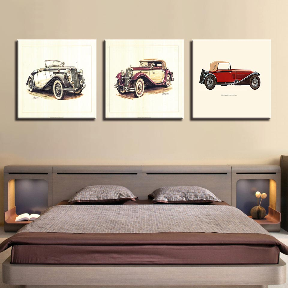 Canvas Paintings Living Room Wall Art HD Prints 3 Pieces Hot Rod ...
