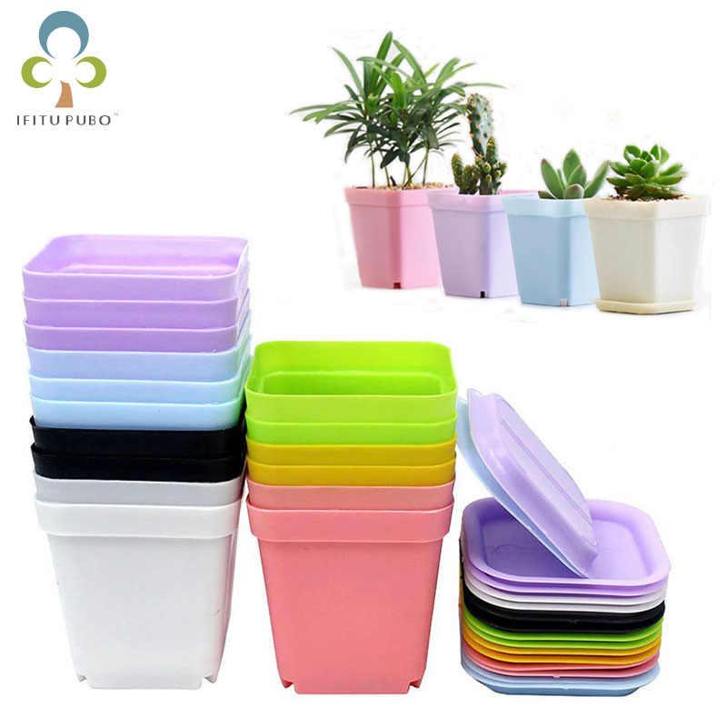 10 cái/bộ Mini đầy màu sắc nhựa hoa Nồi Nồi Vườn Ban Công Hoa Giữ Nồi Thực Vật Động Vật Chậu Balkon WYQ