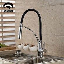 Schwarz und Verchromt Kitchen Sink Wasserhahn Deck Berg Pull Out Dual Sprühdüse Heiß Kalt Mischer Wasserhähne