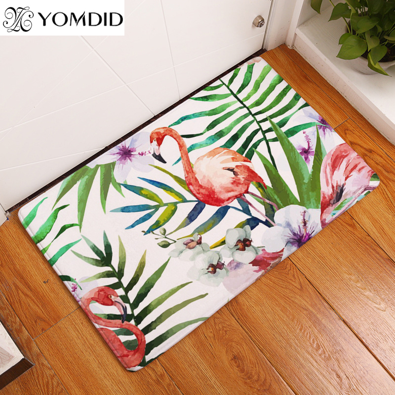 2017 New Style Mats Tropical Plant Ostrich Print Carpets