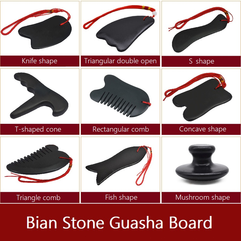 Traditional Natural Bian Stone Body Face Massager Gua Sha Board Acupoint Massage Health Care Beauty Scrape Plate Tool Wholesale