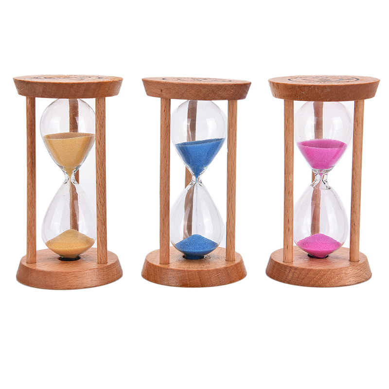 Joyful Wooden Frame Sandglass Sand Glass Hourglass Home Kitchen  3 Mins Timer Clock Decor Gift Blue Pink Yellow