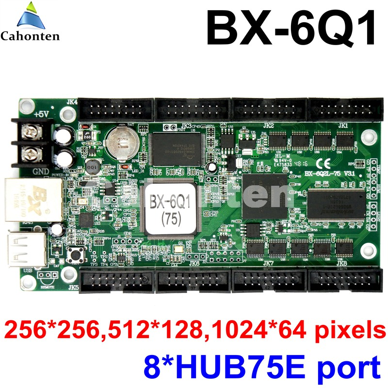 BX-6Q1 Ethernet + USB Port wireless full color led control card 8*hub75 port included rgb asynchronous lintel led controller bx 5q2 u75 usb asynchronous full color led control card with 5 hub75 port p8 p10 p4 p5 p6 p3 rgb led lintel display controller