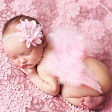 1Set Cute Angel Baby Feather Newborn Photography Props Wings Costume Headband(China)
