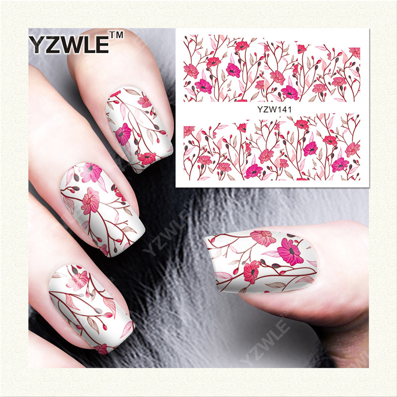YZWLE 1 Sheet DIY Decals Nails Art Water Transfer Printing Stickers Accessories For Manicure Salon (YZW-141) yzwle 1 sheet hot gold 3d nail art stickers diy nail decorations decals foils wraps manicure styling tools yzw 6015