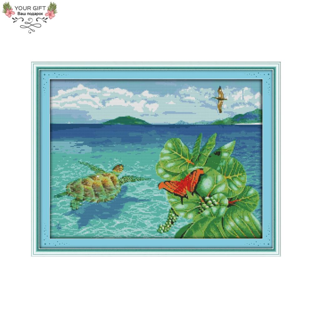 Joy Sunday D913 Free Shipping 14CT 11CT Stamped and Counted Home Decoration The Sea Turtle Needlepoints Cross Stitch Kits Joy Sunday D913 Free Shipping 14CT 11CT Stamped and Counted Home Decoration The Sea Turtle Needlepoints Cross Stitch Kits