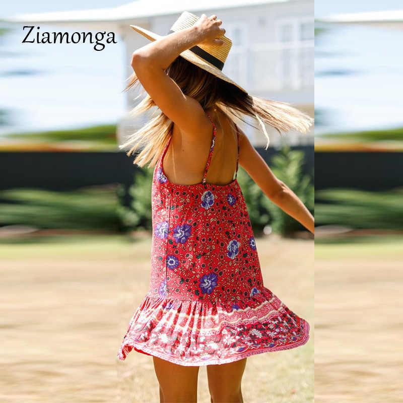 Ziamonga Calda Estate Vestiti Della Boemia Stampato Floreale Delle Donne Dell'annata Del Vestito Femminile Senza Maniche Beach Boho Abiti Vestidos Feminino