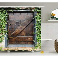 Vixm Small Spanish Style Dark Stained Wood Door Secret Garden with Grated Window Art Rustic Decor Shower Curtains
