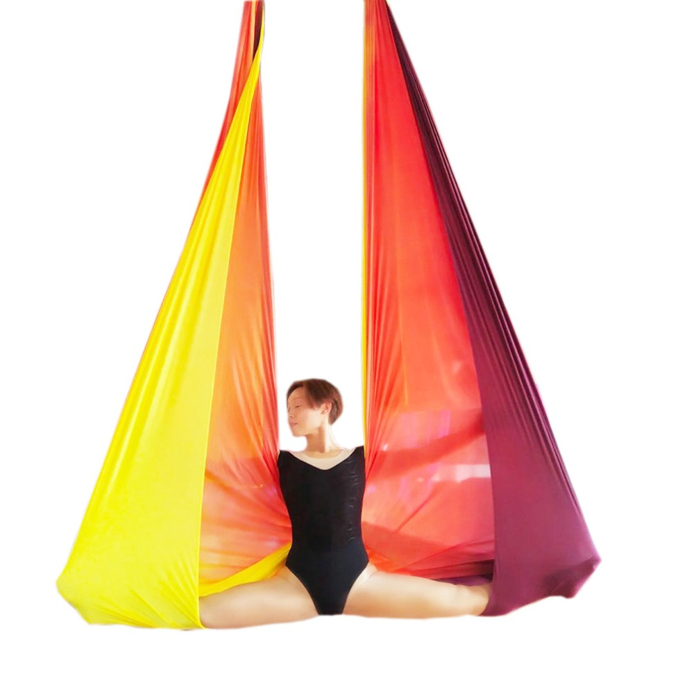Wellsem Anti-Gravity Aerial yoga hammock fabric Flying Yoga Swing Aerial Traction Device Fitness yoga belts for sporting Newest fitness yoga hammock yoga swing anti gravity aerial straps high strength fabric decompression hammock mix color with 6 grip hand