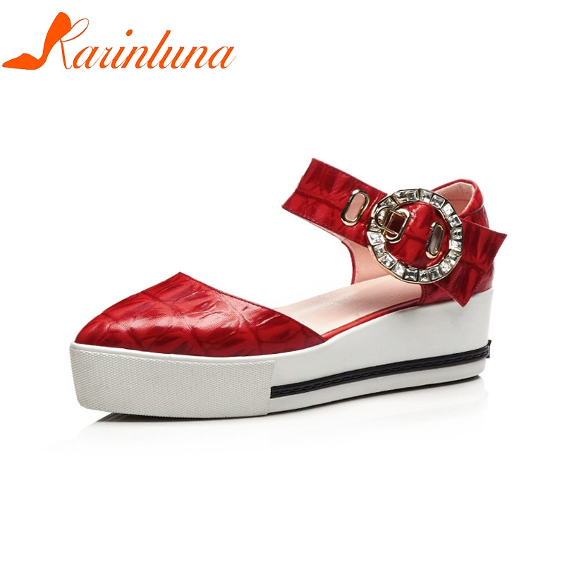 KARINLUNA New women's Genuine Leather Ankle Strap Solid Wedges Crystal Platform Shoes Woman Casual Summer Sandals Big Size 33-40 choudory bohemia women genuine leather summer sandals casual platform wedge shoes woman fringed gladiator sandal creepers wedges