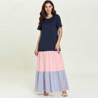 Long Nightgown Cotton Sleepshirts Dress Sleepwear Women Short Sleeve Female Nightdress Islamic Muslim Dress Plus Size Nightgown
