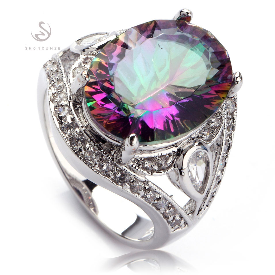 SHUNXUNZE fashion wedding rings for men and women 2018 Rainbow Blue pink Purple Cubic Zirconia Silver Plated R382 R543 R546 R701