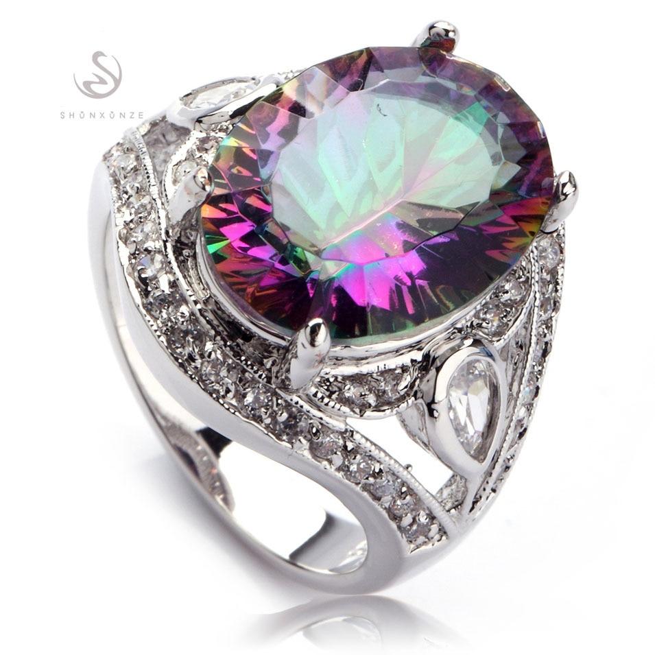 SHUNXUNZE fashion wedding rings for men and women 2018 Rainbow Blue pink Purple Cubic Zirconia Silver Plated R382 R543 R546 R701