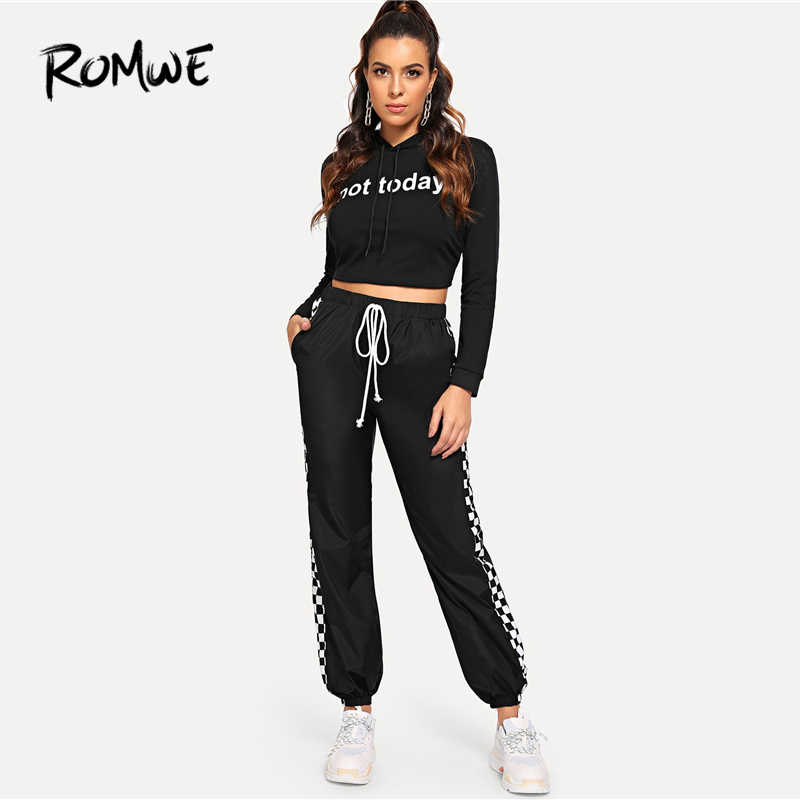 ROMWE Slant ตรวจสอบกางเกง 2019 ฤดูใบไม้ผลิฤดูใบไม้ร่วงกางเกงขายาวกลางเอวยาวกางเกงลายสก๊อตสีดำสไตล์ผู้หญิงกางเกง