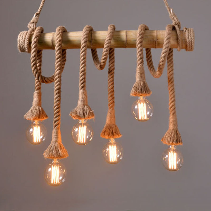 Vintage Bamboo rope Pendant Lamp Retro Countryside wicker Pendant Lights With 4 6 Lights For Dinning