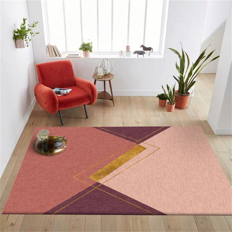 Geometric gold foil fuchsia big rug Digital printing Crystal fleece Non slip crawling mat home carpet bedroom floor Hotel mat in Carpet from Home Garden