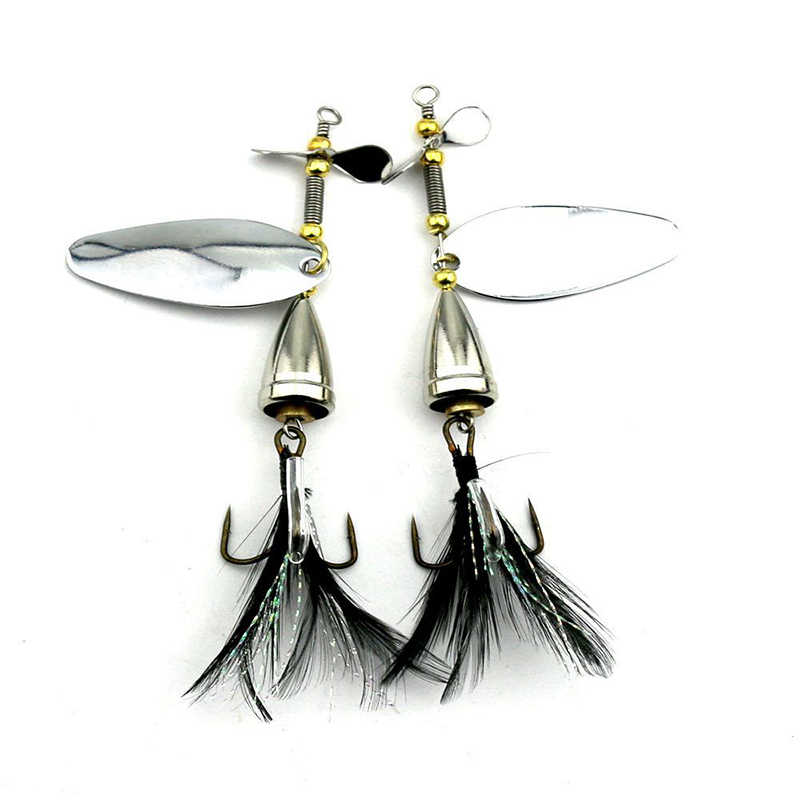 BB749 1 Uds Spinner cebo Metal señuelo de pesca artificial doble cola hélice cebos duros con 6 # gancho de pluma trucha carpa