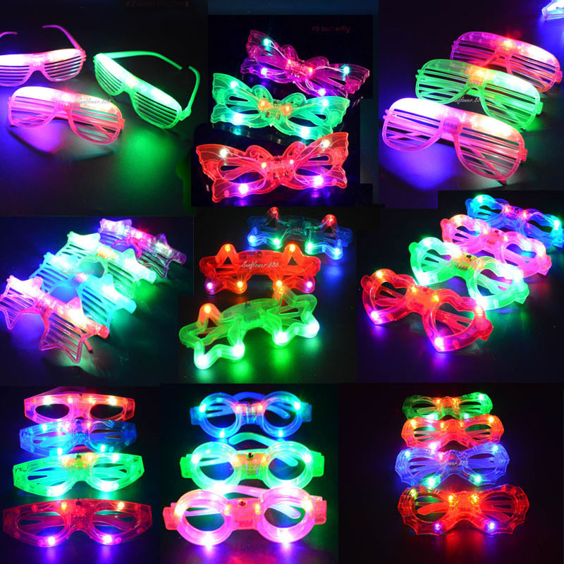 Occhiali LED Flash Luminoso Blind Eyewear Light Maschera occhi lampeggiante Occhiali incandescente Carnevale di nozze Dance Bar Party Christmas Toy