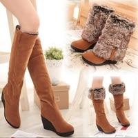 Wedges High Boots Women Warm Black 3 Ways Wear Suede Knee High Women Boots Fox Fur