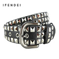 IFENDEI Fashion Rivets Belt Women&Men Hot Luxury Designer Punk PU Leather Belts Unisex Hip Hop Strap Cintos Masculinos Street