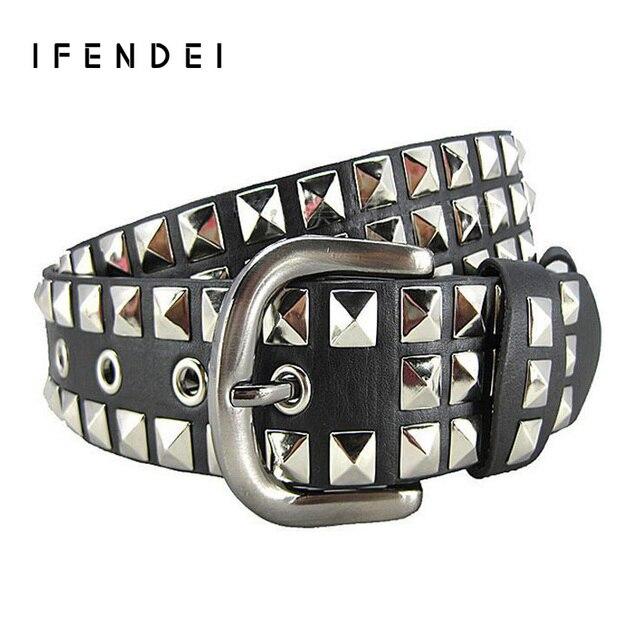 IFENDEI Fashion Rivets Belt Women&Men Hot Luxury Designer Punk PU Leather Belts Unisex Hip Hop Strap Cintos Masculinos Street