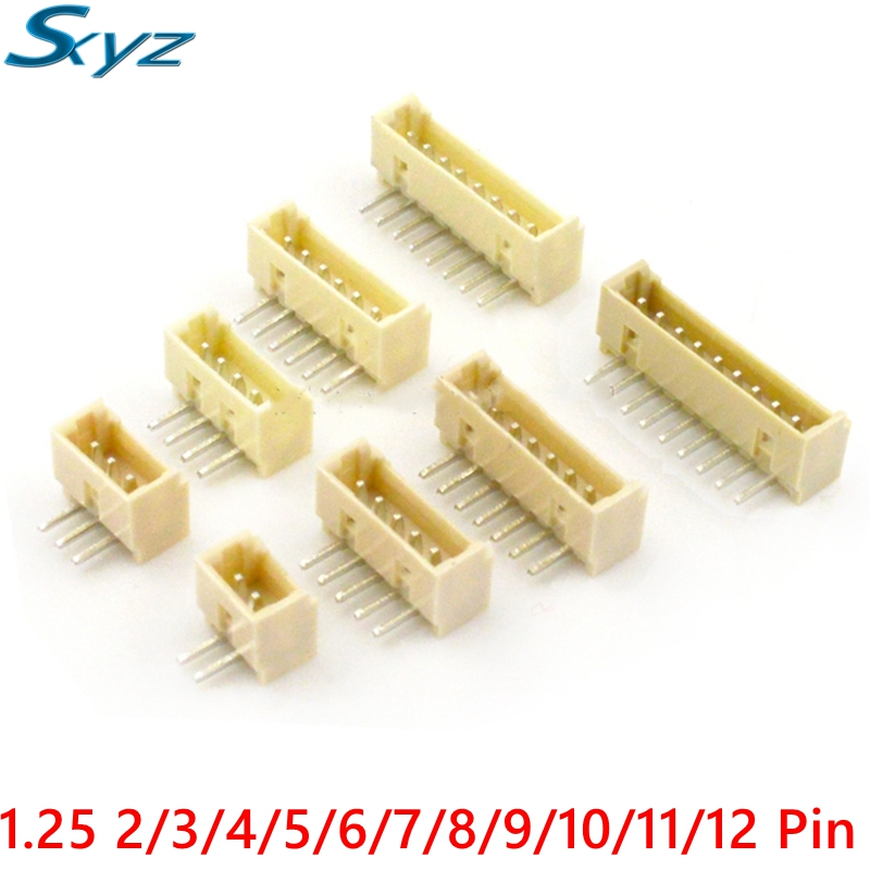 1.25 2/3/4/5/6/7/8/9/10/11/12 Pin 1.25mm Pitch Right Angle Male Pin Header Connector Pin Connectors Adaptor