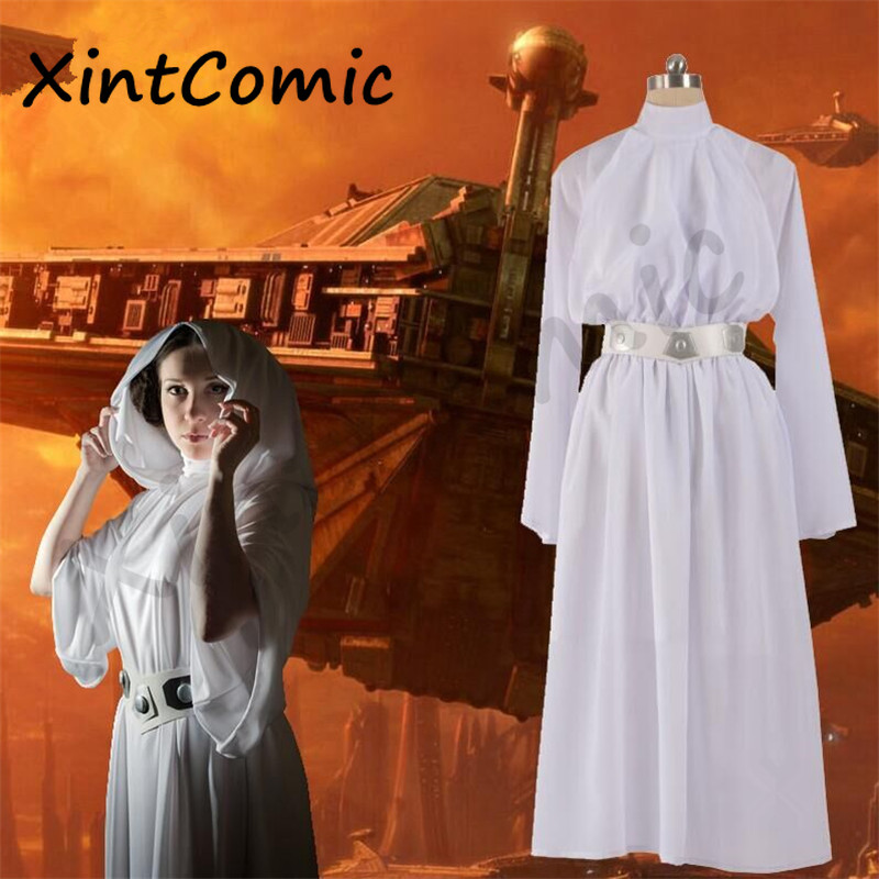 Movie Star Wars Leia Organa Solo Costume Cosplay Halloween of Woman Party Adult Female Dress